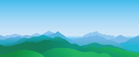 Illustration pour Mountain scenery, abstract summer landscape - image libre de droit