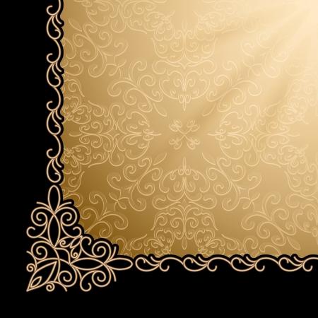 Ilustración de Vintage gold background, corner design element - Imagen libre de derechos
