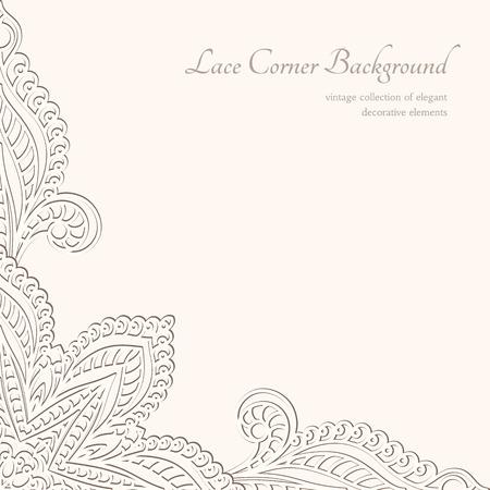 Illustration pour Vintage background, lacy corner ornament - image libre de droit