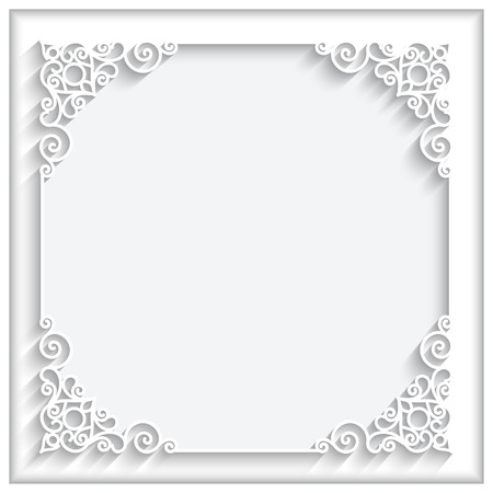 Illustration for Abstract square lace frame with paper swirls, ornamental white background - Royalty Free Image