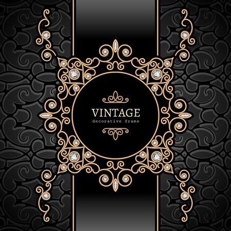 Illustration pour Vintage gold background, diamond vignette, swirly jewelry frame - image libre de droit