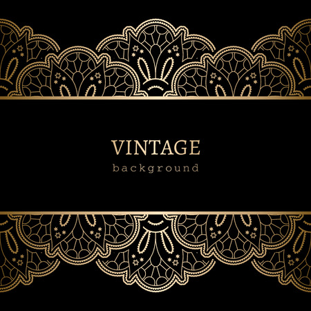 Photo for Vintage gold background, ornamental frame with seamless lace borders - Royalty Free Image