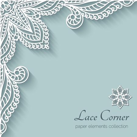 Ilustración de Paper background with lace corner ornament - Imagen libre de derechos