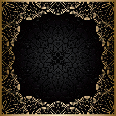 Illustration pour Vintage gold background, square ornamental  lace frame - image libre de droit