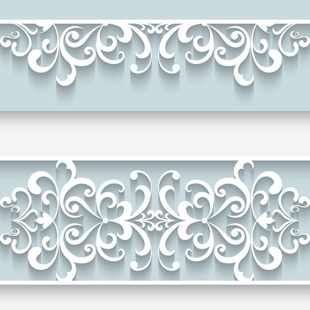 Illustration for Paper lace background, ornamental frame with lacy seamless borders - Royalty Free Image