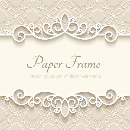 Ilustración de Vintage background with paper border decoration, ornamental frame template - Imagen libre de derechos