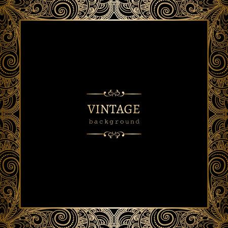 Ilustración de Vintage gold background, square ornamental frame on black - Imagen libre de derechos