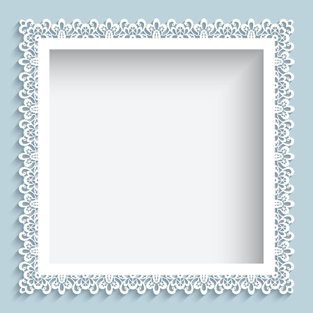 Illustration pour Square frame with paper swirls, ornamental lace background - image libre de droit