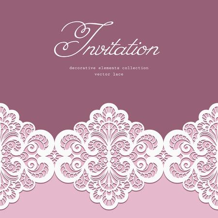 Foto de Elegant greeting card or wedding invitation template with lace border ornament - Imagen libre de derechos
