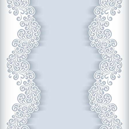 Ilustración de White background with floral cutout paper swirls, greeting card or wedding invitation template - Imagen libre de derechos