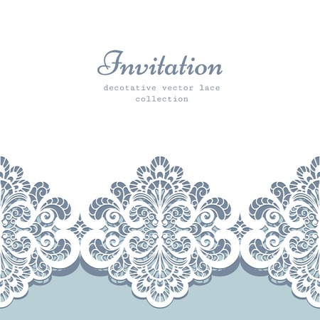 Illustration for Elegant greeting card or wedding invitation template with lace border ornament - Royalty Free Image