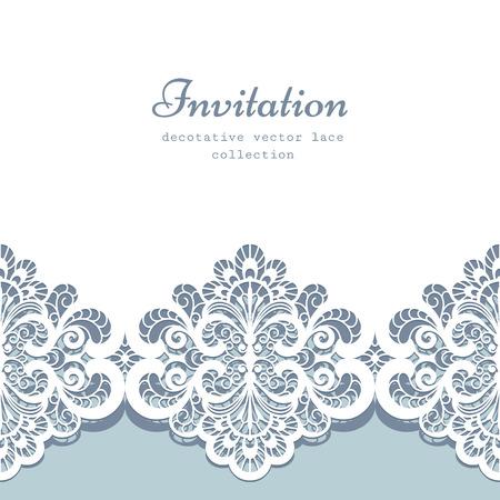 Ilustración de Elegant greeting card or wedding invitation template with lace border ornament - Imagen libre de derechos