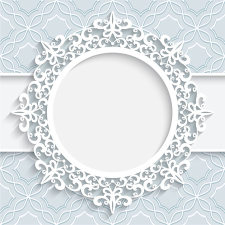 Illustration pour Paper frame with ornamental lace border  round vignette lacy label on white background - image libre de droit