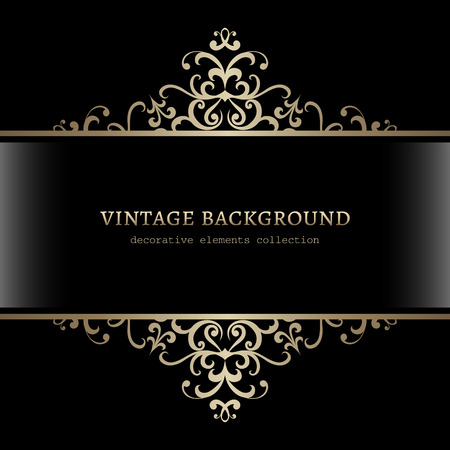 Illustration pour Vintage gold decoration on black background, divider, header, ornamental frame - image libre de droit