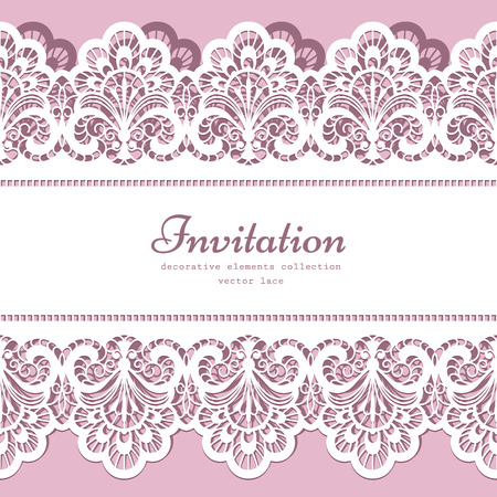 Illustration pour Lace background with cutout lacy border ornament, elegant greeting card or wedding invitation template - image libre de droit