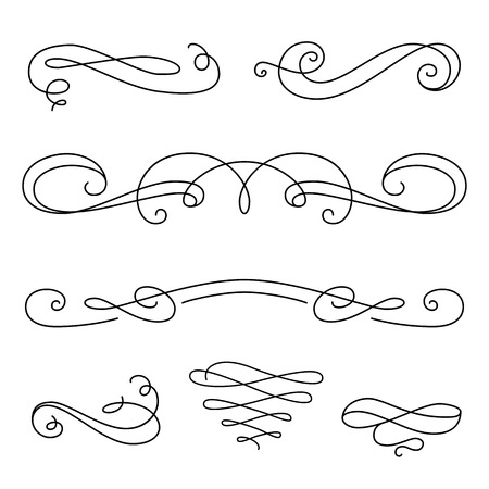 Illustration pour Vintage vignettes, page decoration template, set of calligraphic decorative design elements in retro style, vector scroll embellishment on white - image libre de droit