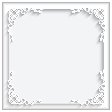 Illustration pour Abstract square lace frame with paper swirls, ornamental corners, white decorative background - image libre de droit