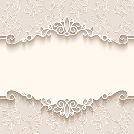 Illustration for Vintage background with paper border decoration, divider, header, ornamental frame template - Royalty Free Image