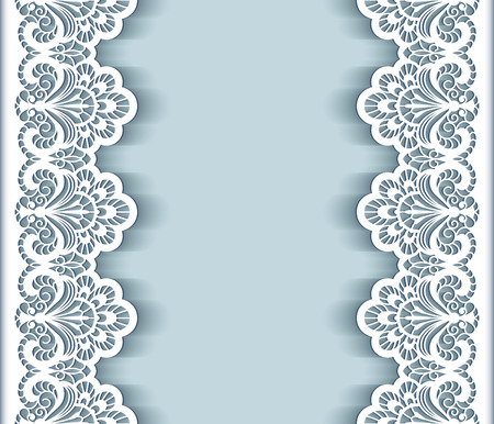 Illustration pour Elegant background with cutout paper lace borders, greeting card or wedding invitation template - image libre de droit