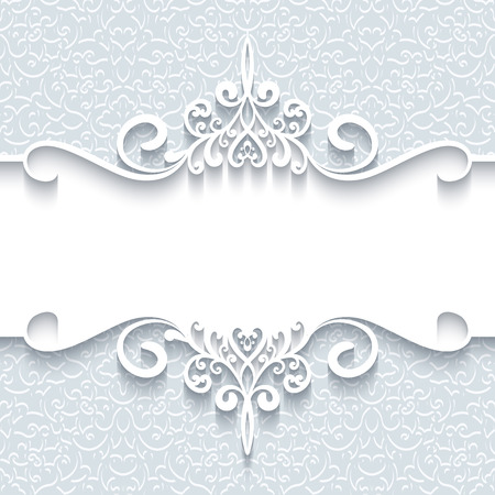 Ilustración de Abstract background with paper divider, header, ornamental frame - Imagen libre de derechos