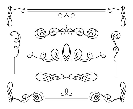 Illustration for Vintage calligraphic vignettes and dividers, set of decorative design elements in retro style, simple swirls, scroll embellishment on white - Royalty Free Image