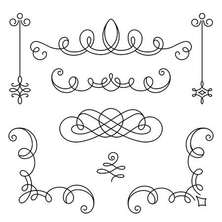 Illustration pour Vintage calligraphic vignettes, corners and dividers, set of decorative design elements in retro style, scroll embellishment on white - image libre de droit