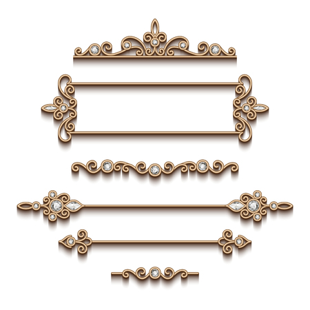 Illustration pour Vintage gold jewelry vignettes and dividers, set of decorative jewellery design elements on white background - image libre de droit