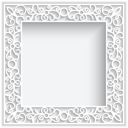 Illustration pour Abstract square lace frame with paper swirlse, white ornamental background - image libre de droit