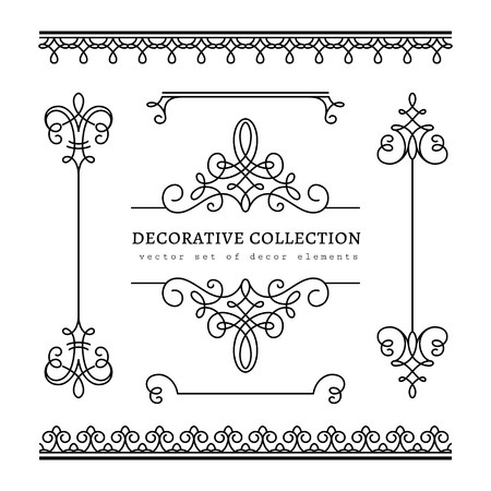 Ilustración de Vintage calligraphic vignettes, borders and dividers, set of decorative design elements in retro style, scroll embellishment on white - Imagen libre de derechos