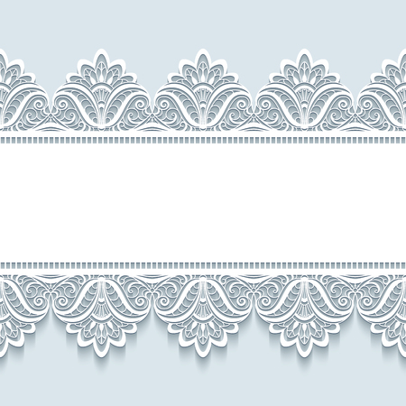 Illustration for Vintage frame with seamless lace border ornament, merry Christmas background, elegant greeting card or invitation template - Royalty Free Image