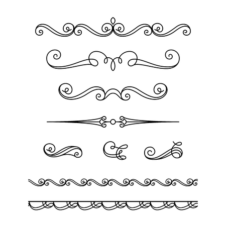 Illustration pour Set of vintage calligraphic vignettes, flourishes, decorative borders and divider elements in retro style, scroll embellishment on white - image libre de droit