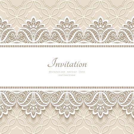 Illustration pour Vintage lace background with seamless border ornament, elegant greeting card or wedding invitation template - image libre de droit