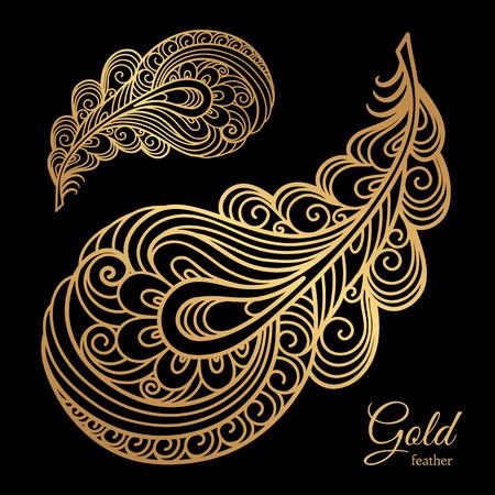 Illustration pour Ornamental gold feather, swirly decorative element on black - image libre de droit