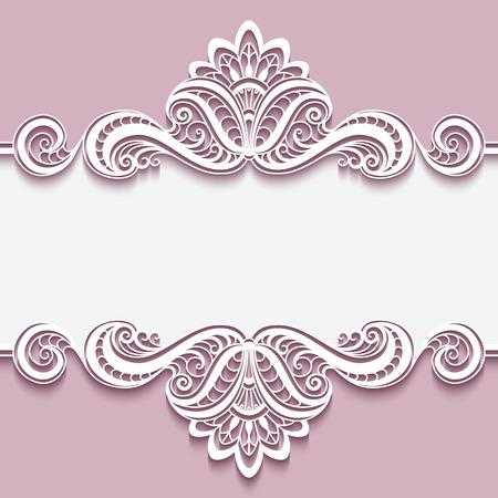 Illustration pour Elegant cutout paper frame with lace border ornament, greeting card or invitation template, - image libre de droit
