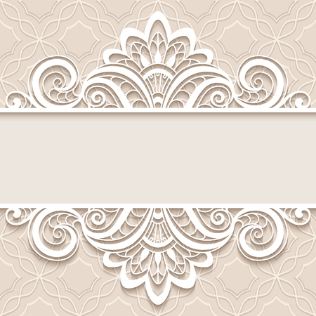 Illustration for Elegant background with border lace ornament, divider, header, decorative paper lace frame, greeting card or wedding invitation template - Royalty Free Image
