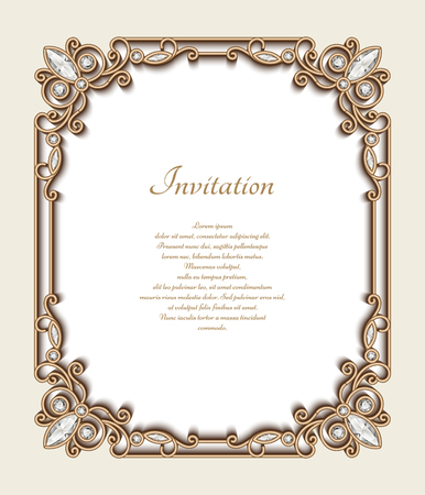 Illustration pour Vintage gold background, rectangle jewelry frame with ornamental border, greeting card or invitation template - image libre de droit