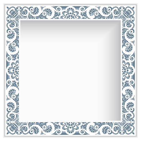 Ilustración de Square photo frame with lace border pattern, cutout paper decoration - Imagen libre de derechos