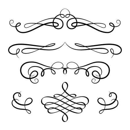 Ilustración de Vintage calligraphic vignettes and flourishes, vector decorative design elements in retro style on white - Imagen libre de derechos
