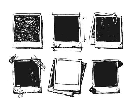 Illustration pour Vintage drawing photo frame vector - image libre de droit