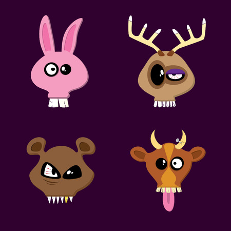 Rabbit, Reindeer, Bear and Cow. Happy Animals Collection Part One.