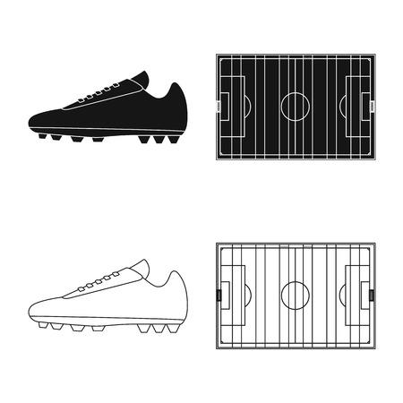 Ilustración de Vector illustration of soccer and gear logo. Collection of soccer and tournament vector icon for stock. - Imagen libre de derechos