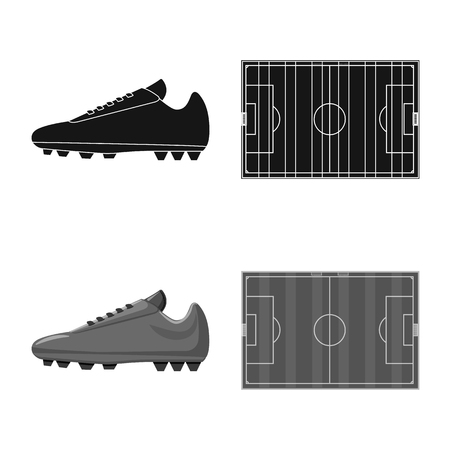 Ilustración de Isolated object of soccer and gear icon. Collection of soccer and tournament stock symbol for web. - Imagen libre de derechos