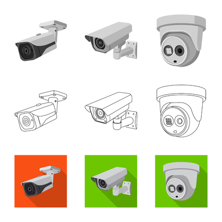 Illustration pour Vector design of cctv and camera. Collection of cctv and system stock symbol for web. - image libre de droit