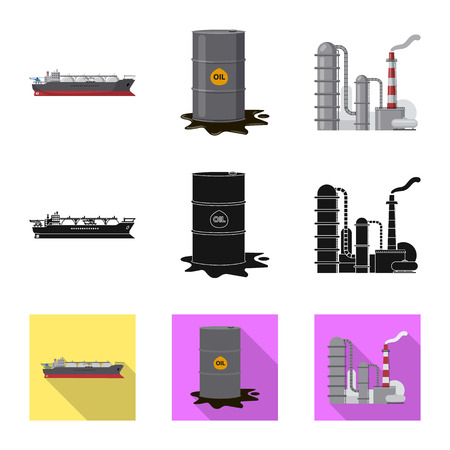 Illustration pour Isolated object of oil and gas logo. Set of oil and petrol vector icon for stock. - image libre de droit
