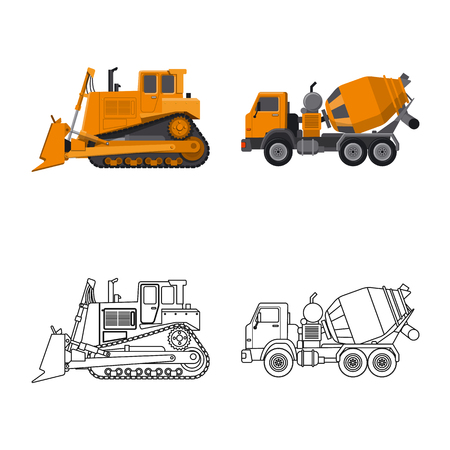 Illustration pour Isolated object of build and construction logo. Collection of build and machinery stock symbol for web. - image libre de droit