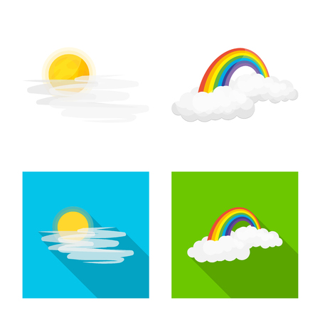 Illustration pour Vector illustration of weather and climate symbol. Collection of weather and cloud stock vector illustration. - image libre de droit