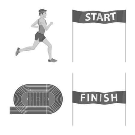 Ilustración de Isolated object of success and marathon icon. Collection of success and winner vector icon for stock. - Imagen libre de derechos