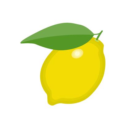 Ilustración de Lemon fruit with green leave icon on isolated background concept for farmers market organic food in flat style vector illustration - Imagen libre de derechos