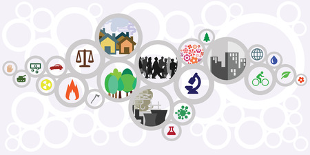 Ilustración de vector illustration of website horizontal  banner for sustainable development concept with circles showing ecological risks and solutions for cities and countries. - Imagen libre de derechos