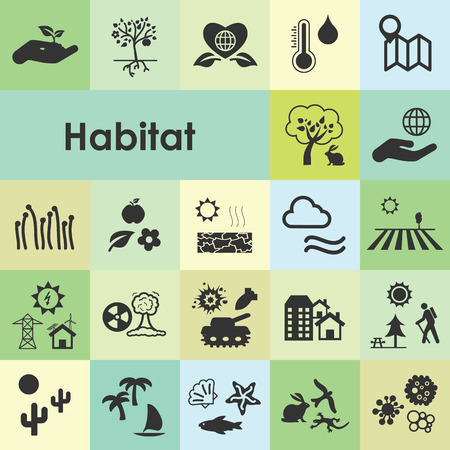 Ilustración de vector illustration of habitat icons for visualizng ecological environmental conditions for different species and humans as city ocean forest - Imagen libre de derechos